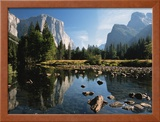 Valley View of El Capitan, Cathedral Rock, Merced River in Yosemite National Park, California, USA Framed Photographic Print by Dee Ann Pederson