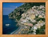 Amalfi Coast, Coastal View and Village, Positano, Campania, Italy Gerahmter Fotografie-Druck von Steve Vidler