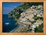Amalfi Coast, Coastal View and Village, Positano, Campania, Italy Framed Photographic Print by Steve Vidler