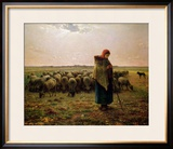 Shepherdess with Her Flock, 1863 Framed Giclee Print by Jean-François Millet