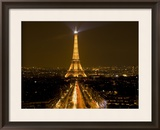 Nighttime View of Eiffel Tower and Champs Elysees, Paris, France Framed Photographic Print by Jim Zuckerman