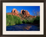 Cathedral Rock Above Oak Creek at Red River Crossing, Sedona, Arizona Framed Photographic Print by David Tomlinson