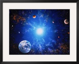 Illustration of Earth and Glowing Star Framed Photographic Print by Ron Russell