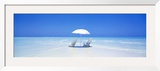 Beach, Ocean, Water, Parasol and Chairs, Maldives Framed Photographic Print by  Panoramic Images