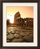 Colosseum and Via Sacra, Sunrise, Rome, Italy Framed Photographic Print by Michele Falzone