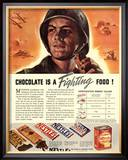 Nestle's, Propaganda Chocolate Sweets WWII Chocolate Is a Fighting Food, USA, 1940 Posters