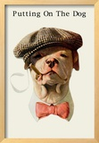 Dog in Hat and Bow Tie Smoking a Cigar Framed Giclee Print