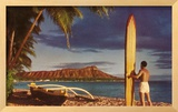 Surfer with Diamond Head Framed Giclee Print