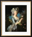 Marie Antoinette (1755-93) with a Rose, 1783 Gerahmter Giclée-Druck von Elisabeth Louise Vigee-LeBrun