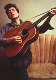 Bob Dylan Young with Guitar Music Poster Print - Poster
