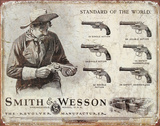 Smith and Wesson Revolvers Standard of the World Tin Sign