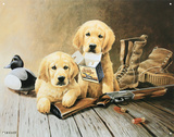 Lynn Katz Golden Memories Retriever Dogs Puppies with Shotgun Tin Sign