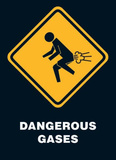 Dangerous Gases Warning Sign Art Poster Print Print