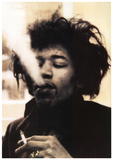 Jimi Hendrix Blowing Smoke Music Poster Print Julisteet