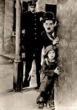 Charlie Chaplin Movie (The Kid Peeking Around Corner) B&W Photo Poster Poster