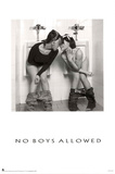 No Boys Allowed Two Hot Girls in the Men's Room Sexy Photo Poster Print Posters