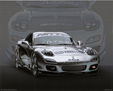1995 Mazda RX7 Silver Car Art Print Poster Posters