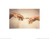 Creation of Adam Detail ポスター : ミケランジェロ・ブオナローティ