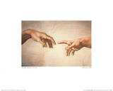 Creation of Adam Detail Posters by Michelangelo Buonarroti 
