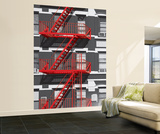 Red Fire Escape Huge Wall Mural Art Print Poster Wallpaper Mural