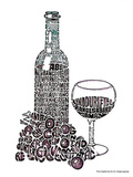 Wine Glass Reds Text Art Print Poster Posters