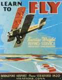 Learn To Fly Bi Wing Airplane Tin Sign