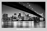 New York, New York (Night Skyline) Photo Print Poster Prints