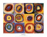 Etude de couleurs, carrés avec des cercles concentriques (Farbstudie Quadrate, vers 1913) Affiches par Wassily Kandinsky
