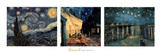 Starry Night Cafe Terrace Rhone Triptych Print by Vincent van Gogh