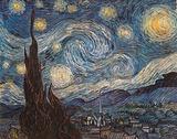 星月夜(糸杉と村) 1889年 高画質プリント : フィンセント・ファン・ゴッホ