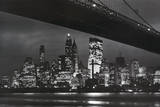 New York City (Brooklyn Bridge & Skyline at Night) Art Poster Print - Poster