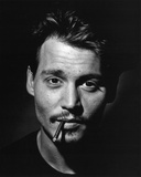 Johnny Depp (Smoking, B&W) Glossy Movie Photo Photograph Print Photo