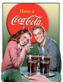 Coca Cola Coke Young Couple Tin Sign