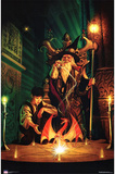 Dragon Wizard - & Child, Art Poster Print Poster