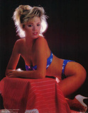 80s Campy Pin-Up, Girl in Blue Star Bikini, Patriotic, Photo Print Poster Photo