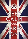Keep Calm and Carry On (Motivational, Union Jack Flag) Art Poster Print - Resim