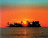 Sunny Island (Sun Setting Behind Island) Art Poster Print Posters