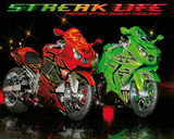 Streak Life (Red & Green Motorcycles) Art Poster Print Poster