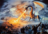 Fire-Breathing Dragon Battle (Fantasy) Art Print Poster Prints
