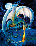 Dragon Causeway (Blue Dragon) Art Poster Print Poster