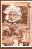 Albert Einstein Caricature in Classroom Art Print Poster Posters