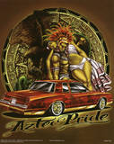 Aztec Pride (Carrying Woman over Car) Art Poster Print Prints