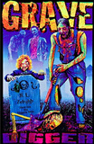 Zombie Grave Digger Blacklight Poster Print Poster