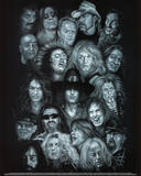 Metal Heroes (Ozzy Scott Ian Metallica Lemmy David Lee Roth Van Halen Led Zeppelin) Poster Kunstdruck