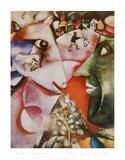 Yo y la aldea Láminas por Marc Chagall