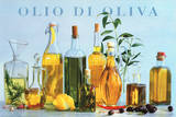 Olio di Oliva (Olive Oil Bottles) Art Poster Print Posters