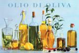Olio di Oliva (Olive Oil Bottles) Art Poster Print Poster