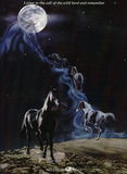 No More Night Mares Horses under Moon Art Print Poster Láminas