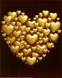 Heart to Heart (Gold & Red) Art Poster Print Affischer