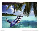 Tropical Beach (Hammock Under Tree) Art Poster Print Masterprint